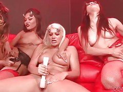 Sexy chick are fucking each other with big strap-on dildos.