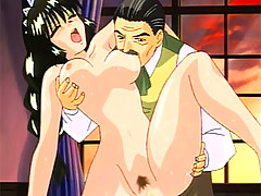 Beautiful black haired piece of hentai ass screams in pain as her masters thick cock explodes