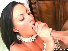 Lovely dady is drilling her appetizing pussy