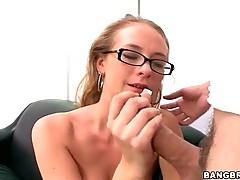 Appealing Natasha likes to suck huge pecker