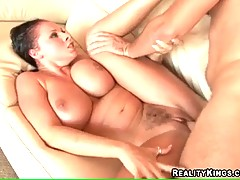 Dude with hairy dick is drilling her kitty