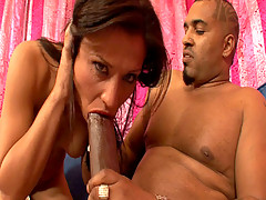 Tiny Brunette goes 1 on 1 with a 14inch cock.