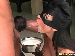 Slutiy in cat mask gives horny guy hot blowjob.