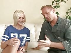Man looks for babysitter for his kids, so now he interviews hot girl.