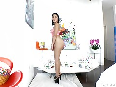 The Asian sweetheart shows off her perfect, natural tits in a fishnet dress, and Mike worships her body with his tongue. Kendra gags and drools on his massive meat, making lewd slurping sounds during an intense, eye-watering blowjob. He rims her gaping bu