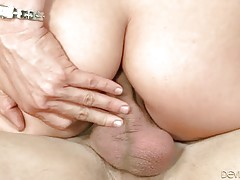 Slutty lady stuffs lover`s dong inside her craving butt hole.