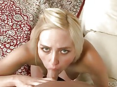 Sexy young slut enjoys the taste of lover`s erect boner.