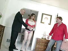 Man surprises his wife by inviting other guy to fuck her.