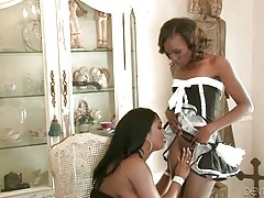 Pussy hungry black mistress examines her sexy ebony maids.