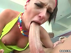 Adorable bitch is doing awesome blowjob in the room