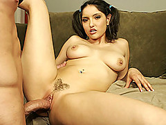 Voluptuous brunette slut Adrianna Faust is joined by veteran porn stud Donny Long in this rough young sex scene.  She looks so slutty and dirty as she looks up at the camera with Donny's big cock crammed into her mouth.  After a nasty cock sucking she ben