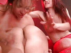 Watch and enjoy the view of nasty lesbian group action.