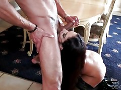 Muscled stud works his boner inside booty babe`s wet hole.