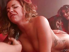 Nasty devil girls give no mercy to fantastic busty chick.